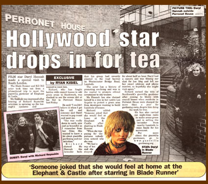 Hollywood star drops in for tea. Daryl Hannah at Perronet House, Elephant & Castle London