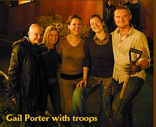 Gail Porter with guerrilla gardening troops