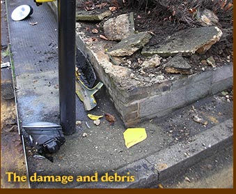 The damage and debris