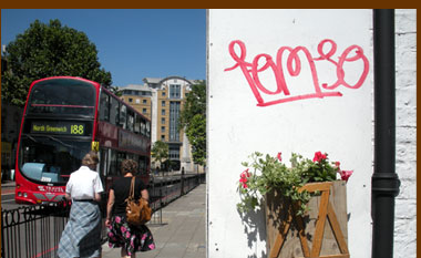 Toronto guerrilla gardening comes to London with a red trailing geranium and petunia