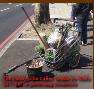 The handy bike trailer (made by Andy 287) full of gardening munitions