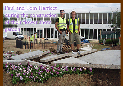 Paul and Tom Harfleet during the construction of their flower show garden. 5 July - 11 July 2010 Paul Harfleet and his brother Tom have won a gold
