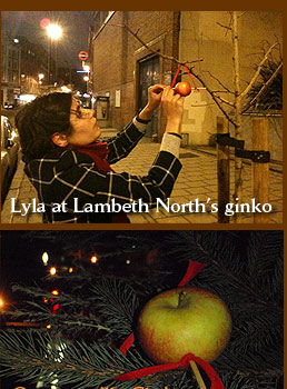 Lyla guerrilla Christmas tree decorating at Lambeth North