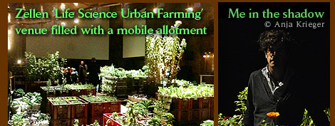 Zellen 'Life Science Urban Farming' venue filled with a mobile allotment