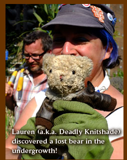 Lauren (a.k.a. Deadly Knitshade) discovered a lost bear in the  undergrowth!