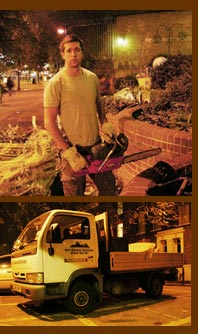 Sam Moon (076) from City Garden Services arrives with his chain saw