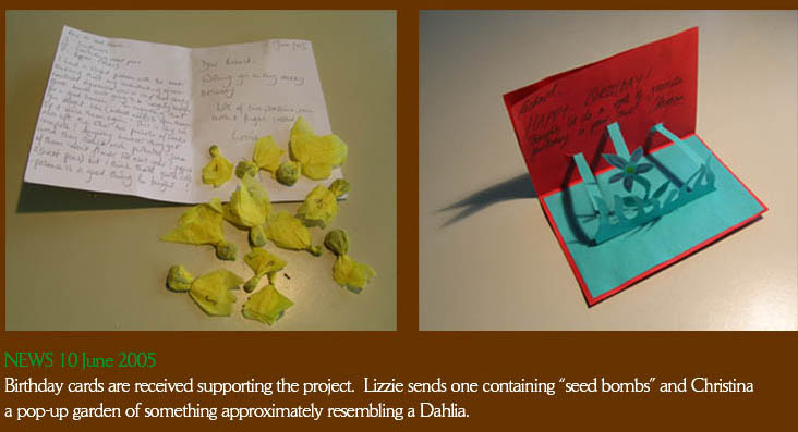 Birthday cards to Richard Reynolds, the Guerrilla Gardener, received from Lizzie Ambler and Christina Dumphy.