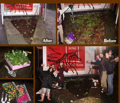 Guerrilla gardening at Hyde Park Corner in Leeds